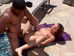Black cock craving girl fucked outdoors in pool