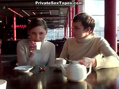 Slim amateur girlie gives a blowjob to her boyfriend in the cafe's toilet