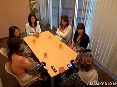 Five Naughty Japanese Chicks Having Fun with One Cock