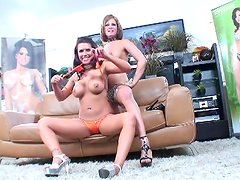 Eva Angelina and Tory Lane are posing at the backstage