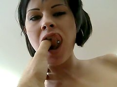 Young brunette horny chick Abbie Cat got her toes sucked off by