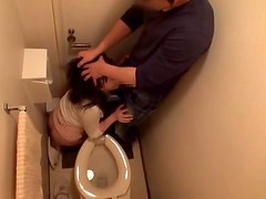 Hot Japanese rides a dick and gets fingered in a toilet
