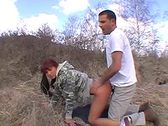 Red-haired hottie Lenka gives hot blowjob in 69 position