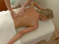 Saucy blonde seductress with big ass receives erotic massage