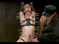 Amazing BDSM scene with masochist chick