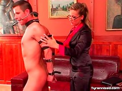 Mistress collars and binds her submissive man