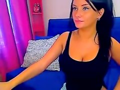 Dark Brown Hair Satisfying Herself on Web Camera