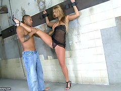 He ties her up in his dungeon as a sex slave