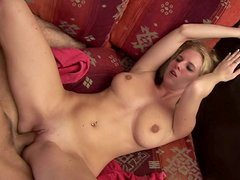 Busty blond hoe gives a thorough cowgirl ride to oversized penis