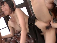 Horn made Japanese slut Izumi Manaka gives head while getting finger fucked