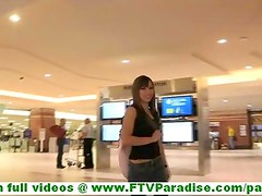 Risi cute amateur brunette at airport and undressing after arriving home