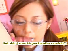 Miho Maeshima asian doll gets a cum load on her glasses