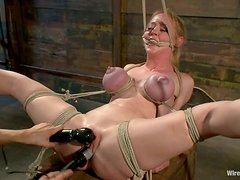 Lovely Darling gets hog tied gets toyed and whipped