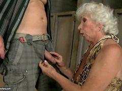 Norma's dream came true as she rides younger cock