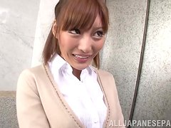 Slutty Kirara Asuka gives hot POV blowjob in an elevator