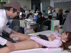 Sexy Japanese girl gets fucked in crowded office