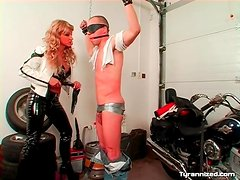Cock and balls taped up and ass spanked