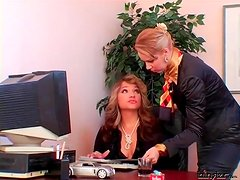 Smoking mistress uses secretary as ashtray