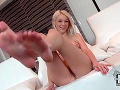 Adorable blonde with big tits and hot ass strips
