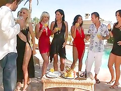 Eve Angel and her girls get everyone hot and horny in their slutty dresses
