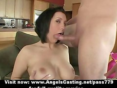 Busty brunette does blowjob and titsjob and has her wet pussy licked