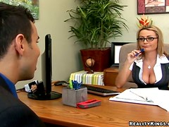 Alexis May the busty secretary gets nailed in an office