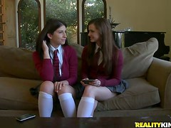 Sexy schoolgirls are acting on in the threesome
