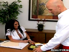 Brunette chick with huge boobs gets fucked in an office