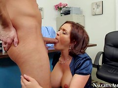 Busty new brunette secretary Krissy Lane enjoys in doing all