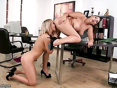 Blonde Lana S with big boobs and Zafira have a
