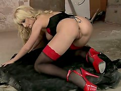 Blonde Anita Hengher is ready to play