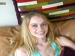 Slender tempting blonde teen Crissy in short white skirt and red thong teases Rob in