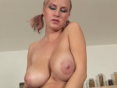 Sexy busty gal called Alice is fond of rubbing her wet fresh and shaved pussy