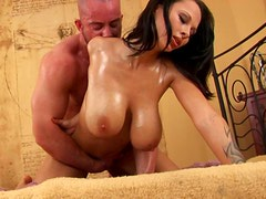 Awesome oil covered babe Deborah desires to get her cun drilled from behind