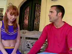 Pigtailed Redhead Cheerleader Giving Head and Getting Fucked Hard