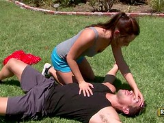 Cheerleader Trains In The Garden With The Team Coach. Fucked Under The Tree!