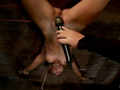 Severe Toying Session for Mae Meyers Girl Hanging Upside Down