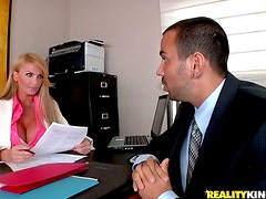 Passionate Taylor Wane rides big dick in an office