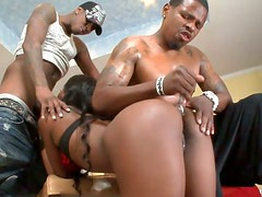 Horny ebony whore Sierra Banxxx takes part in MMF threesome action