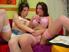 Hot like hell and sexy lesbo Silvie wanna be teased by awesome busy gal