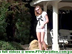 Kasey amateur lovely blonde teen girl with nice tits masturbating with a dildo near the pool