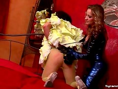 Sissy in satin dress dominated by mistress