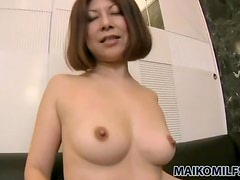 His creampie leaks from her Japanese pussy