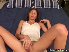 Slender girl is drooling with some cum at the end
