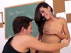 Pretty perverted dude Kris Slater has tons of enjoyment with pretty babe Lyla Storm. She is