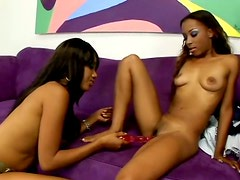 Slim ebony lesbians Kapri Styles and Tina Price underss to tease pussies