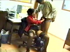Busty Indian brunette cutie sucks dick in the office