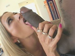 Hot blonde girl in stockings gets pounded by Black guy