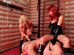 Painful CBT and spanking for two sub guys