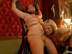 Bella and Cherry get their holes stuffed with toys in amazing BDSM clip